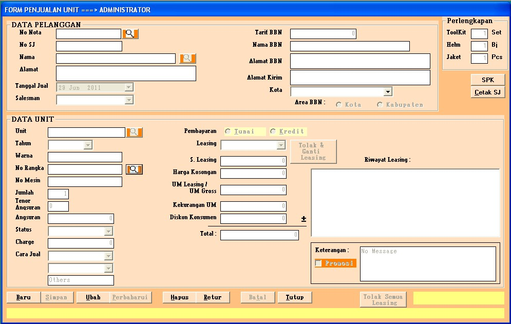 Form Penjualan Unit Motor program dealer motor