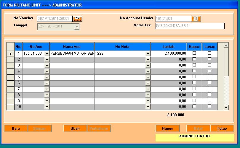 Form Piutang Unit Motor program dealer motor