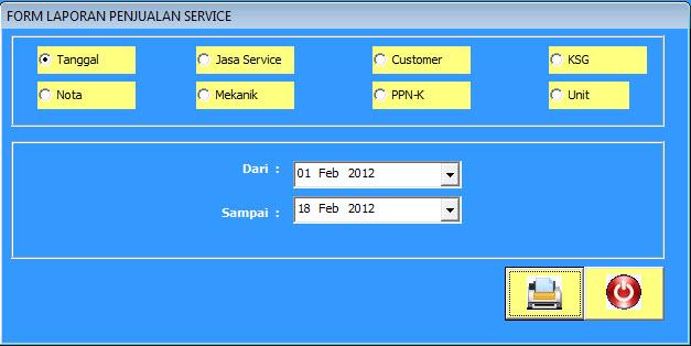 form laporan penjualan jasa service