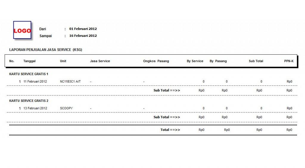 laporan service ksg