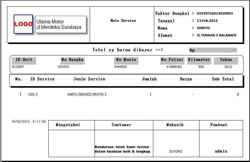 nota penjualan service